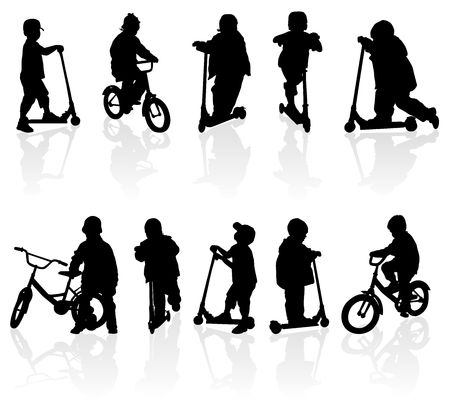 bicycle silhouette: Silhouette girls and boys with bicycle, illustration Stock Photo