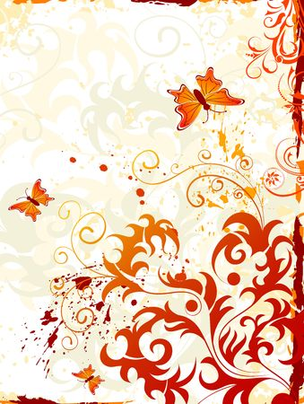 Grunge paint floral background with butterfly, element for design, vector illustration Stock Photo