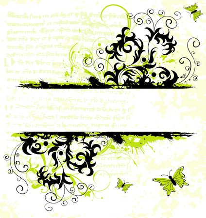Grunge paint flower frame with butterfly, element for design, vector illustration Stock Illustration - 952867