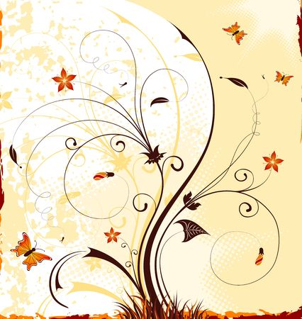 Grunge paint flower background with butterfly, element for design, vector illustration illustration