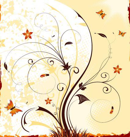 Priorit� bassa del fiore della vernice di Grunge con la farfalla, elemento per il disegno, illustrazione di vettore Archivio Fotografico