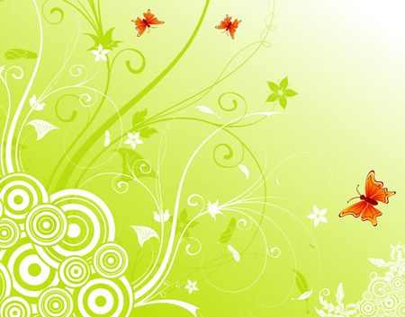 Abstract flower background with circles & butterflies, element for design, vector illustration Stock Illustration - 960139