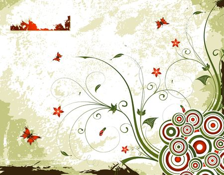 Grunge paint flower background with butterfly, element for design, vector illustration Stock Illustration - 960141