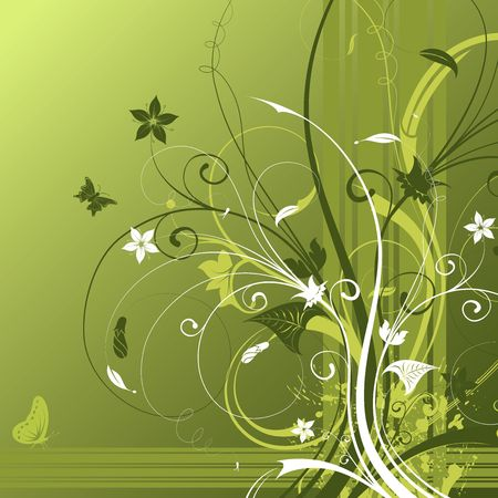 Abstract flower background with butterfly, element for design, vector illustration Stock Illustration - 960144