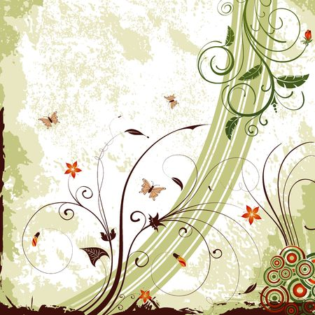 Grunge paint flower background with butterfly, element for design, vector illustration Stock Illustration - 966566