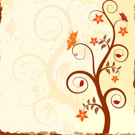 Grunge peindre le fond avec la fleur papillon, �l�ment de conception, illustration vectorielle  Banque d'images - 966567
