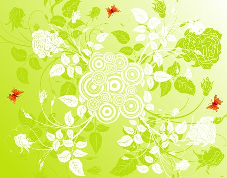Abstract flower background with circles & butterflies, element for design, vector illustration Stock Illustration - 966573