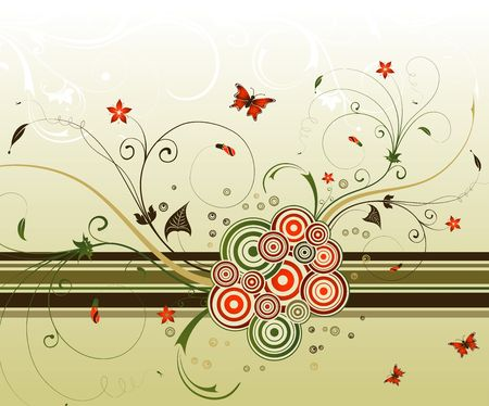 Abstract flower background with circles & butterflies, element for design, vector illustration Stock Illustration - 966575