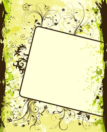Grunge paint flower background with frame, element for design, vector illustration Stock Illustration - 974268