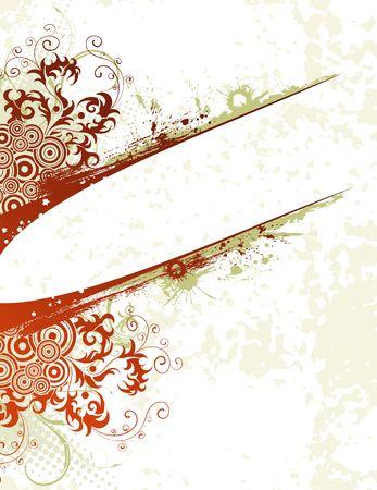 Grunge paint flower background with circle, element for design, vector illustration Stock Illustration - 974269