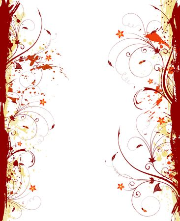 Grunge paint flower frame, element for design, vector illustration Stock Illustration - 974271