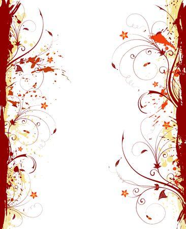 Grunge paint flower frame, element for design, vector illustration Stock Illustration - 974271