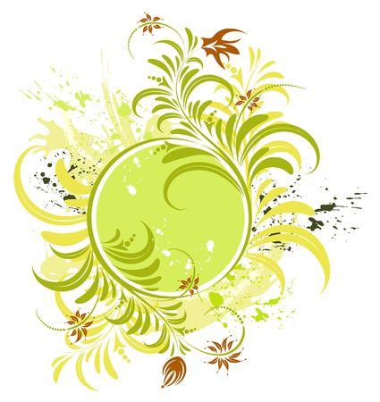 Grunge paint flower frame, element for design, vector illustration Stock Illustration - 974273