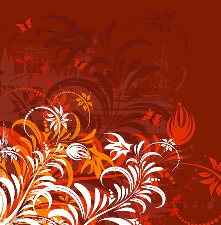 Grunge paint flower background with butterfly, element for design, vector illustration Stock Illustration - 974274