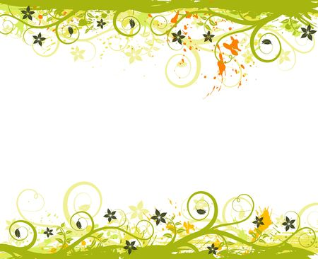 Grunge paint flower frame, element for design, vector illustration illustration