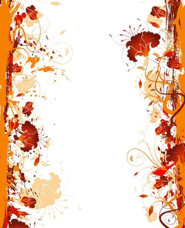 Grunge paint flower frame, element for design, vector illustration Stock Illustration - 990271