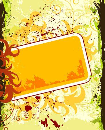 Grunge paint flower frame, element for design, vector illustration Stock Illustration - 990272