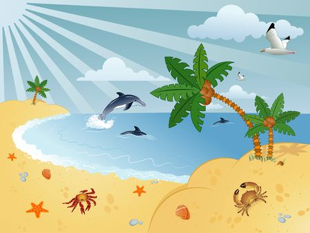Detailed summer background with palm tree, coconut, dolphin, sea-gull, crab, starfish..., vector illustration Stock Illustration - 1140756