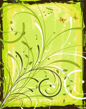 Grunge paint flower background with butterfly, element for design, vector illustration illustration