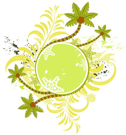 Grunge paint flower summer frame with palm tree, element for design, vector illustration illustration
