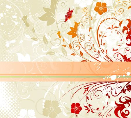 Grunge paint flower background with butterfly, element for design, vector illustration Stock Illustration - 1209316