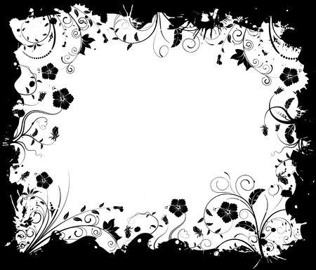 leafed: Abstract grunge floral frame, element for design, vector illustration