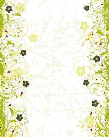 Grunge pittura di fiori con cornice ibisco, elemento per la progettazione, illustrazione vettoriale  Archivio Fotografico