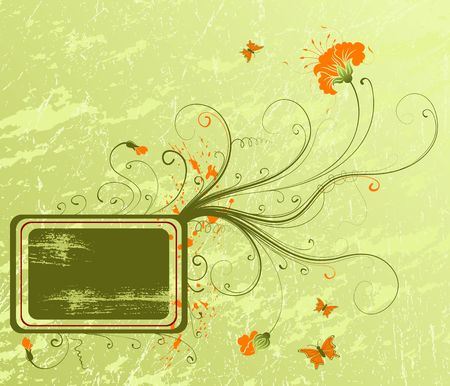 Grunge paint flower background with butterfly, element for design, vector illustration Stock Illustration - 1229774