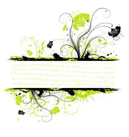 Grunge paint flower frame, element for design, vector illustration Stock Illustration - 1229775