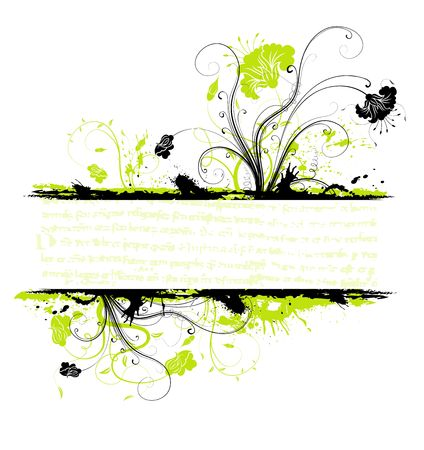 Grunge paint flower frame, element for design, vector illustration Stock Illustration - 1229775