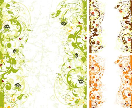 Grunge paint flower frame with variants of color, element for design, vector illustration