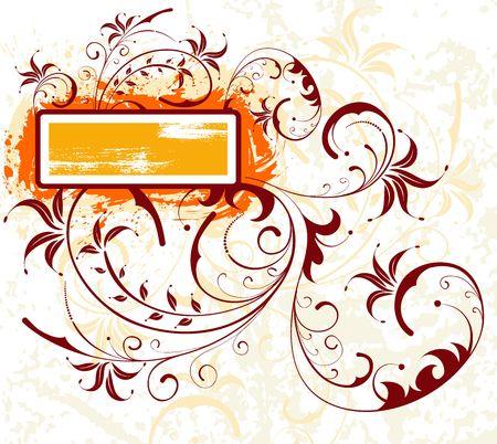 Grunge paint flower frame, element for design, vector illustration Stock Illustration - 1261235
