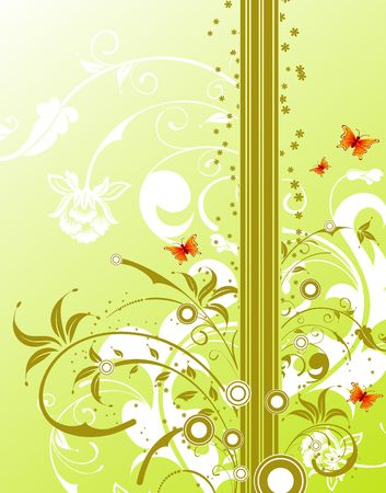 Abstract floral background with circles & butterfly, element for design, vector illustration Stock Illustration - 1261238