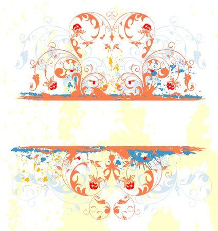 Grunge paint flower frame, element for design, vector illustration Stock Illustration - 1296491