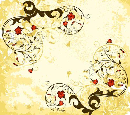 Grunge paint flower background with bug, element for design, vector illustration Stock Illustration - 1296495