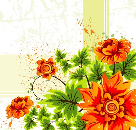 Grunge paint flower background, element for design, vector illustration Stock Illustration - 1342689