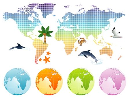 Rainbow map earth with dolphin, palm tree and globe, vector illustration illustration