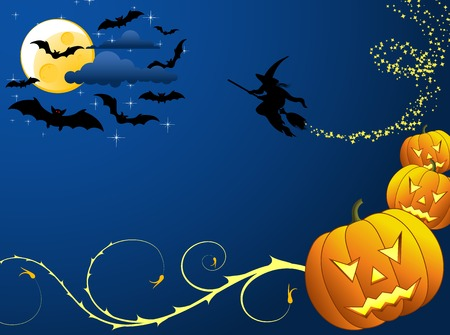 Halloween background with bats, witch & pumpkin, vector illustration illustration