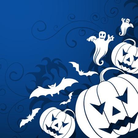 Halloween background with bats, witch & pumpkin, vector illustration illustration
