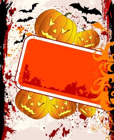 Halloween background with bats & pumpkin, vector illustration illustration