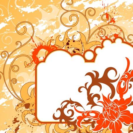 Grunge paint flower background with frame, element for design, vector illustration Stock Illustration - 1440182