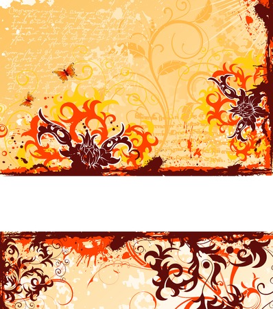 Grunge paint flower background with butterfly, element for design, vector illustration