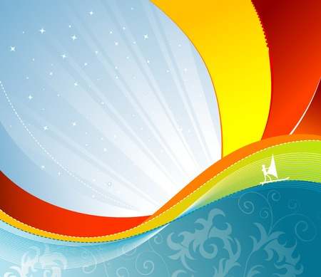 windsurfing: Wave background with windsurfing, element for design, vector illustration