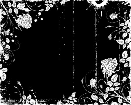 Grunge paint flower frame with blots, element for design, vector illustration Stock Vector - 1447424