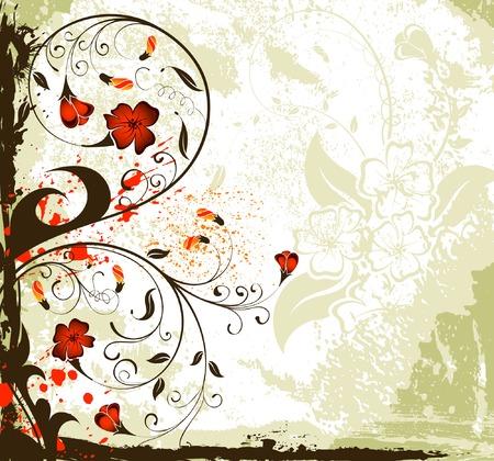 Grunge paint flower background with buds, element for design, vector illustration Ilustração