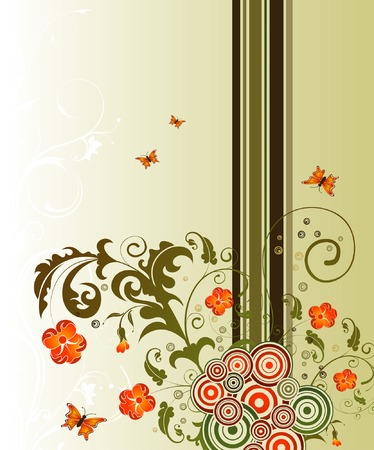 Abstract flower background with circles & butterflies, element for design, vector illustration Stock Vector - 1479408