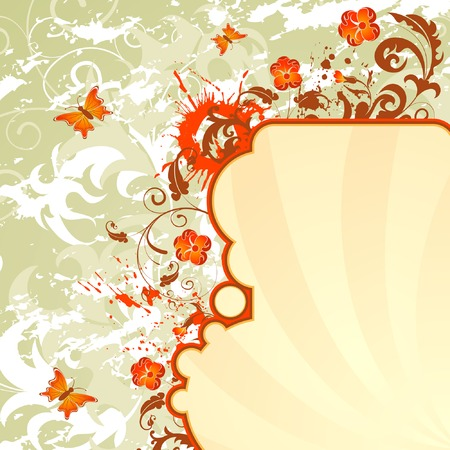 Grunge paint flower background with butterfly, element for design, vector illustration Stock Vector - 1484032