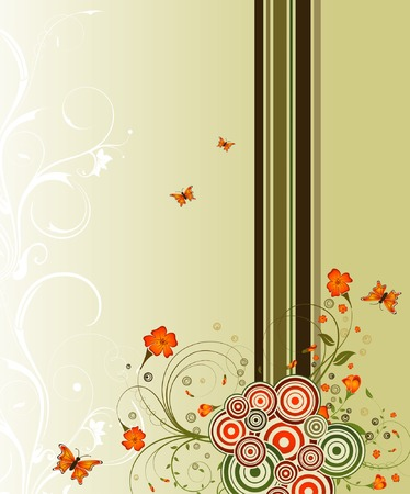 Abstract flower background with circles & butterflies, element for design, vector illustration Stock Vector - 1533605