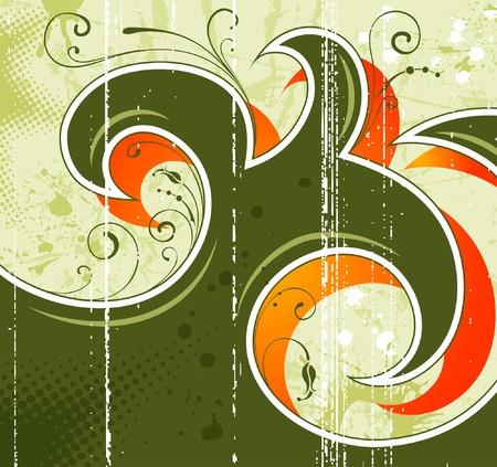 Grunge vernice fiore sfondo, elemento per la progettazione, illustrazione vettoriale