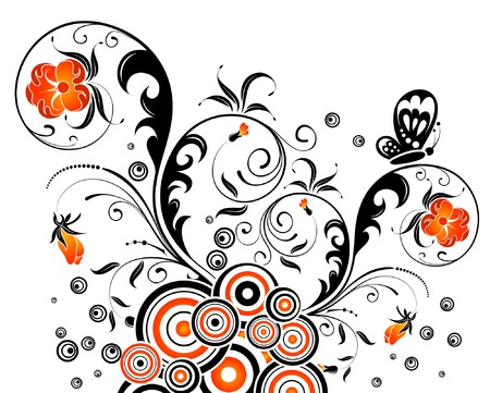 Abstract floral chaos with butterfly, element for design, vector illustration Stock Vector - 1694450